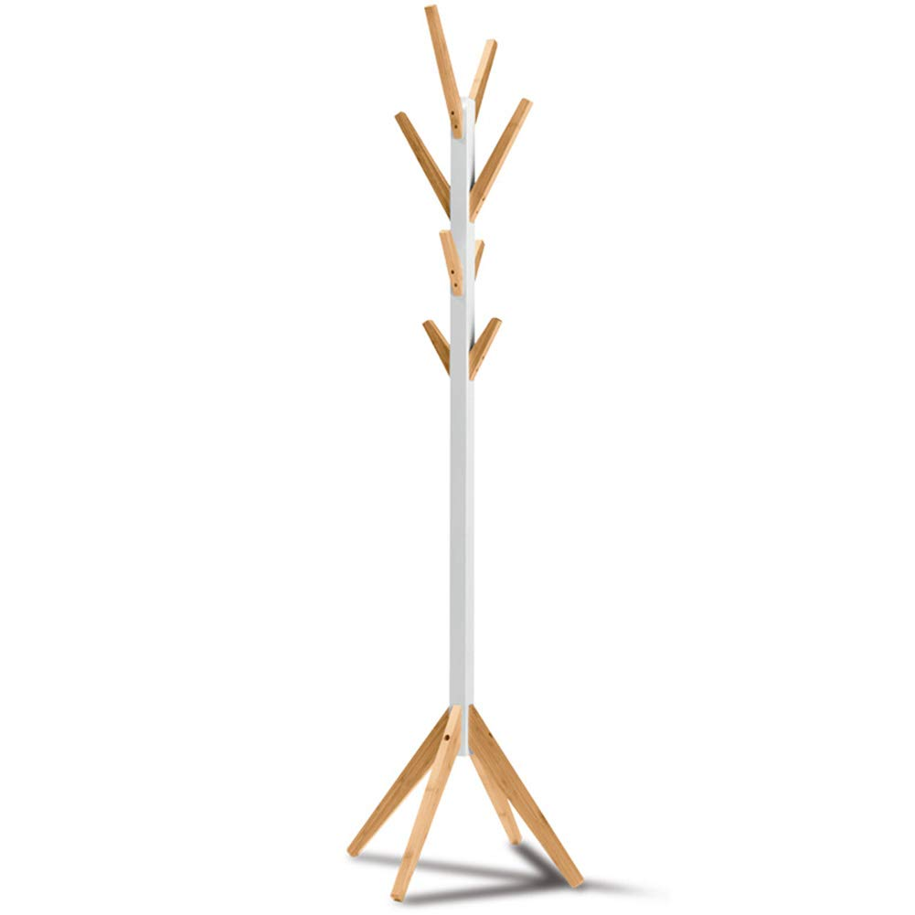 JIANFEI Floor Standing Coat Rack Hat Stand Hanger 8 Hook Bedroom Mildew Proof Bearing Strong,Bamboo (Color : White, Size : 55x41.5x178cm)