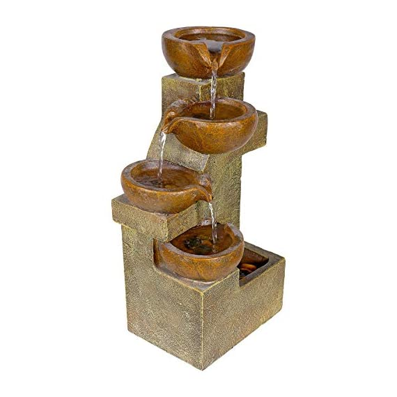 Alpine Corporation 4-Tier Pouring Pots Fountain - Tabletop Indoor/Outdoor Water Fountain for Yard, Patio, Garden - Brown - Make sure this fits                by entering your model number. POURING POTS FOUNTAIN: Outdoor fountain is the perfect addition to your decor. Interior pump keeps the water flowing - just plug it in! RELAXING WATER FLOW: Water trickles down through pots to mimic the sounds of a real waterfall, adding peaceful ambiance to your home or yard - patio, outdoor-decor, fountains - 41cnXG4wE3L. SS570  -