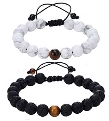 Hand-woven YinYang Black Lava and White 8mm Beads Hers and His Bracelet for Couple (Lovers' 2 pcs)