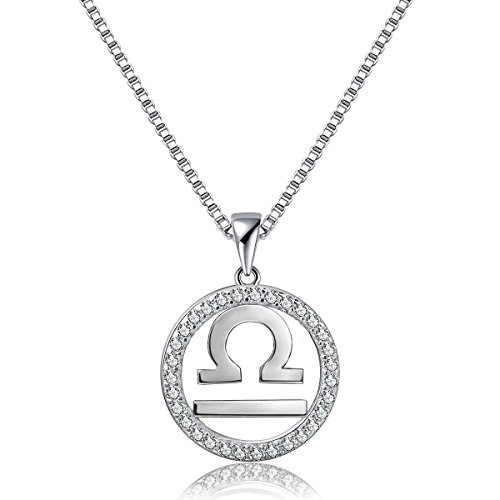 Zodiac Pendant Necklace Constellation Jewelry Libra Horoscope Charm Womens Platinum Plated 925 Sterling Silver Box Chain , 18