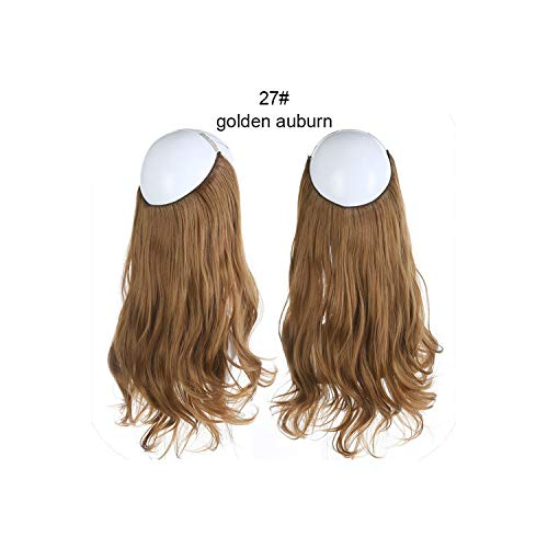 Wave Halo Hair Extensions Invisible Ombre Bayalage Synthetic Natural Flip Hidden Secret Wire Crown Grey Pink,Golden Auburn,16Inches