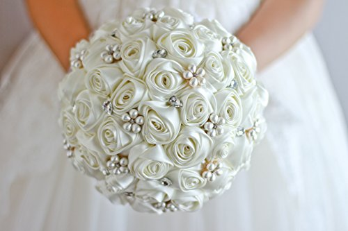 Ivory Blue Coral T Blue Red Rose Flower Bridal Brooch Bouquet