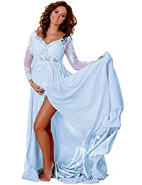 Women's Maternity Lace Appliques Split Long Sleeve Dresses for Baby Shower Photography Gowns