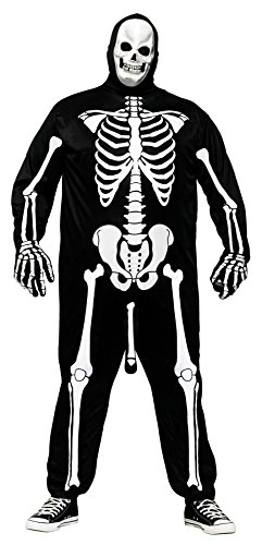 FunWorld Men's Skeleboner Jumpsuit w/Gloves & Mask Halloween Plus Size Costume, Plus -