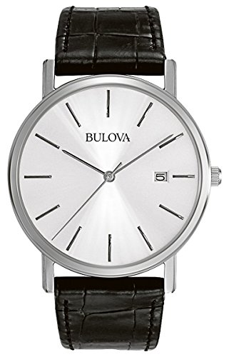 Bulova Men's 96B104 Stainless Steel Dress - Bulova Mens Leather Wrist Watch