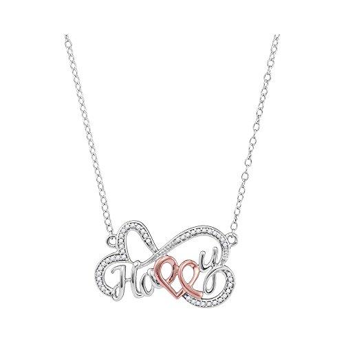 Roy Rose Jewelry 10K White Gold Ladies Diamond Heart Happy Pendant Necklace 1/8 Carat tw (Gold Diamond Heart Happy)