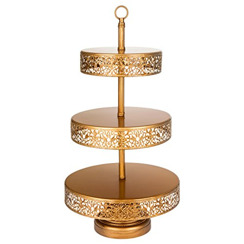 Victoria Collection Antique Gold 3 Tier Cupcake Stand, Round Metal Dessert Wedding Party Display Tower with Reversible (Princess Round Serving Plate)