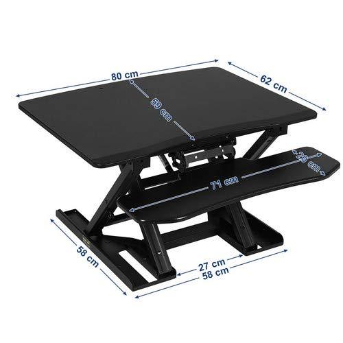 SONGMICS Standing Desk Bureau Debout Bureau d/'Ordinateur Portable Ajustable Support Double pour 2 /écrans avec Support Clavier R/églable en Hauteur pour la Maison ou Le Bureau 80 x 62 cm Noir LSD08B