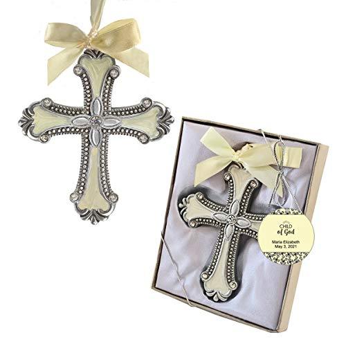 Fashioncraft, Baptism First Communion Christening Favors, Vintage Design Cross Ornament, Custom Child of God Tags, Set of 20