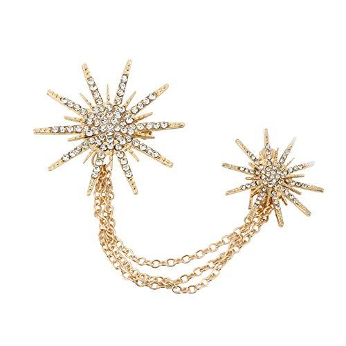 Oro Cikuso Broche De Moda para Mujer Broches De Cadena De Chispas De Estrella De Encanto Decoraci/ón De Vestido De Se?Ora