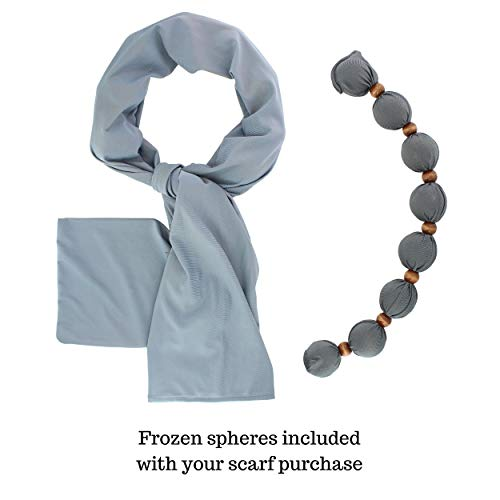 Nano-Ice Cooling Necklace + Scarf - Grey   Beat The Heat in Style!   Take Out of Freezer for Hours of Cooling Relief!