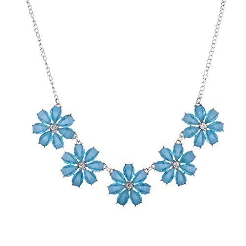 Lux Accessories Silvertone and Blue Rhinestone Five Flower Statement Necklace