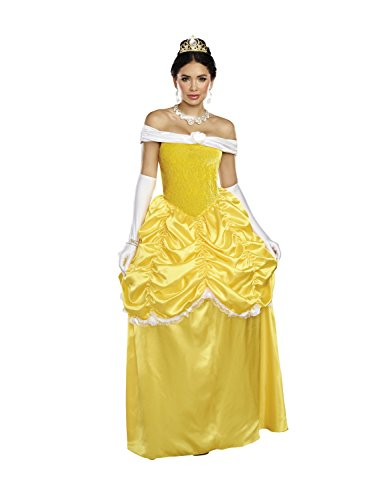 Dreamgirl Women's Fairytale Beauty, Yellow/White, (Beauty And The Beast Couples Costume)