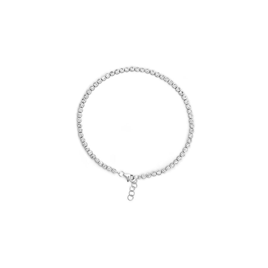 """Sterling Silver Round Bezel Set CZ Bubbles Anklet Bracelet, 9.5"""" Long"""