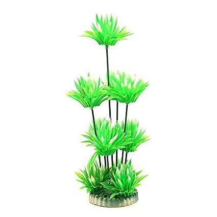 Planta artificial para acuario o pecera flores verdes 25 cm altura