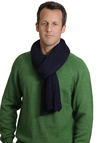 Elm Chunky Hand Knit Baby Alpaca and Silk Scarf for Men and Women (Navy) by Incredible Natural Creations from Alpaca - INCA Brands