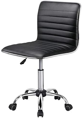 Yaheetech Armless Office Chair Ribbed Faux PU Leather Swivel Computer Desk Task Chair Mid-Back Adjustable Makeup Stools on Wheels Black