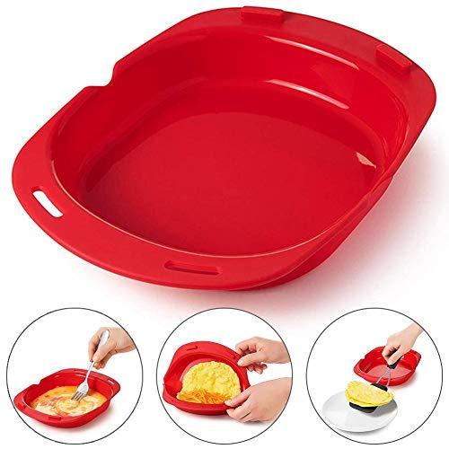 Urnanal Silicone Omelette Tool, Microwave Oven Non Stick Omelette Maker Egg Roll Baking Pan Omelette Tools, 9.57×7.83×1.69in