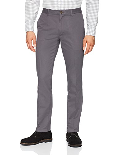 Amazon Essentials Men's Slim-Fit Wrinkle-Resistant Flat-Front Chino Pant, Grey, 35W x 29L ()