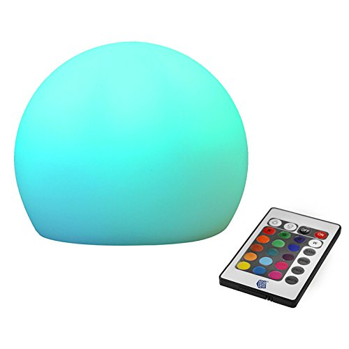 HENENG Rechargeable LED Glow Ball RGBW Wireless Orb Decor Light with Remote Control Bedroom LED night lights Multi Color Change IP65 Waterproof Mood Light for Indoor and Outdoor Use, 1 Pack (Ball Bouncing Flash)