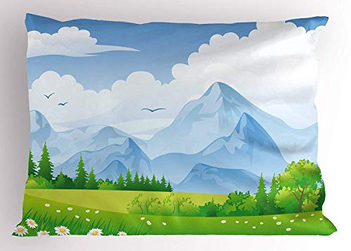 Emiqlandg Nature Pillow Sham, Summer Meadow with Daisy Flower Field with Mountain Happy Eco Landscape, Decorative Standard Queen Size Printed Pillowcase, 30 X 20 inches, Lime Green Light Blue
