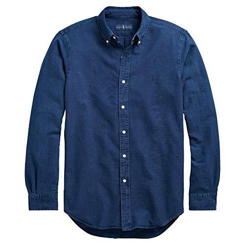 Button Shirt Down Oxford Sports - RALPH LAUREN Men Solid Sport Oxford Shirt (XL, IndigoBlue)
