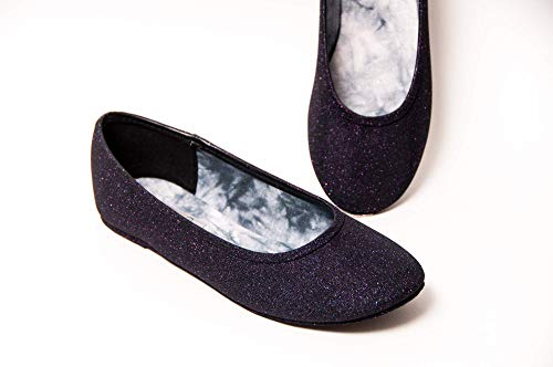 Starlight Sequin Navy Blue Ballet Flats Slippers Shoes
