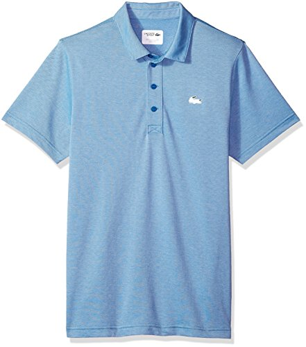 Lacoste Men's Short Sleeve Jersey Caviar Print with Button Front Placket Polo, Dh3/Small3/Small8/3XL5/Large, Medway/White, 4/Medium -