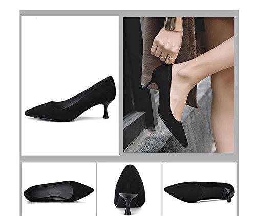 Punta Moda Discotecas 5cm Mujer Primavera Zapatos Altos De Tacones Con Tacón Bombas Medio Nvxie Black 38 Verano 34 HBq8x