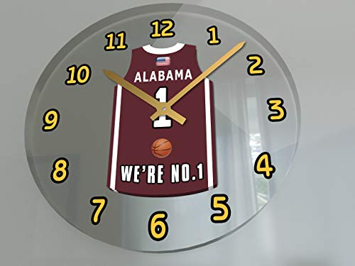 FanPlastic College Basketball USA - We're Number ONE College Hoops Wall Clocks - Support Your Team !!! (Alabama Crimson Tide) ()