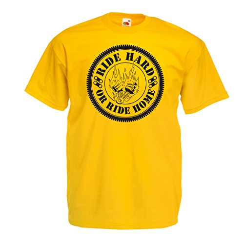 N4688 T-Shirt Male Ride Hard! Biker Clothing (XX-Large Yellow Multi Color)