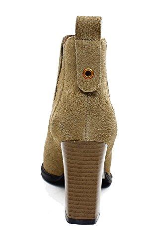 Guoar Donna Stivaletti Eleganti Alti Tacchi Alti 8,5 Cm Con Tacchi Alti B-kaki