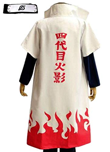 GK-O Naruto 4th yondaime Namikaze Minato Hokage Halloween Cosplay Costume Cloak Coat (Asian Size XX-Large) White