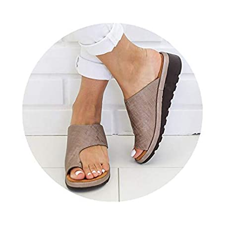Fashion Women Ladies Leather Sandal Footbed Beach Slippers Feet Correction Shoes