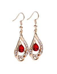 MagiDeal Fashion WomensTeardrop Pendant Crystal Rhinestone Gold Plated Necklace Earrings Jewelry Set Bridal Party