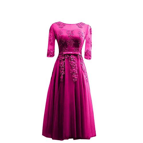 Traube La Glamour Kurzarm Partykleider Braut Marie Wadenlang Abendkleider Brautmutterkleider Spitze Pink Uqa1t