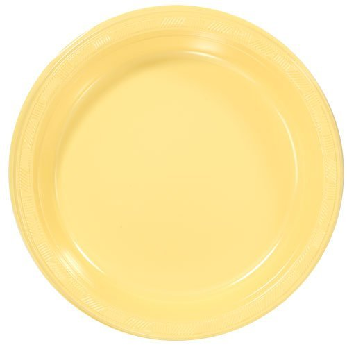 Hanna K. Signature Collection 50 Count Plastic Plate, 10-Inch, (Yellow Dinnerware Collection)