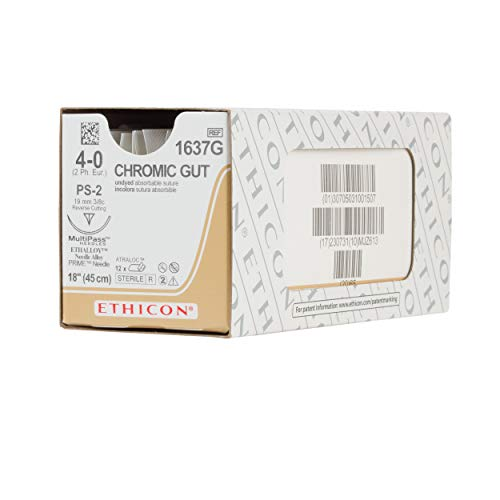 Ethicon Surgical Gut (Chromic) Suture, 1637G, Natural Absorbable, PS-2 (19 mm), 3/8 Circle Needle, Size 4-0, 18