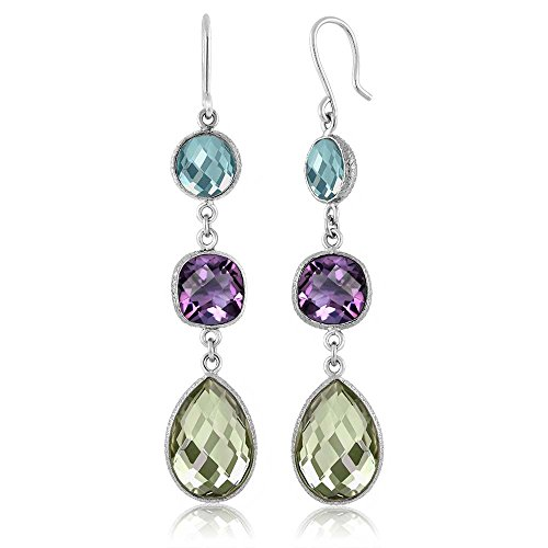 Gem Stone King Dangle 925 Silver Earrings Multi Shape Sky Blue Topaz Purple and Green Amethyst