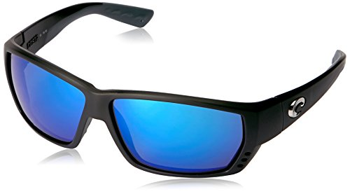 Costa Del Mar Tuna Alley Sunglasses, Matte Black, Blue Mirror 580 Glass - Glass Costa 580