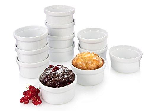 Bluespoon Pastetenformen Set aus Porzellan Ø 9 cm 12 teilig | Hervorragend geeignet für Pasteten, Desserts, Muffins oder als Dipschalen auf Ihrer nächsten Party | Unkomplizierte Reinigung in der Spülmaschine
