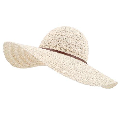 lethmik Womens Summer Lace Sun Hat Floppy Wide Brim Beach Cotton Bucket Hat Light Beige-Wide Brim
