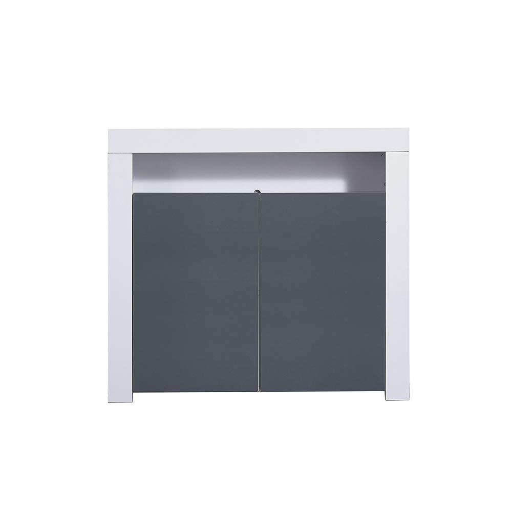 Ruication Sideboard Cabinet Cupboard Black Matt Body Black High Gloss Fronts Sideboard 2 Doors 1 Shelves with LED Lights Modern Furniture for Living Room Dining Room Kitchen Bathroom Bedroom Hallway