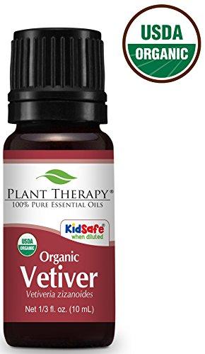 Plant Therapy Vetiver Organic Essential Oil 10 mL (1/3 oz) 100% Pure, Undiluted, Therapeutic Grade
