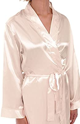 Alexander Del Rossa Womens Solid Color Satin Robe, Long Dressing Gown