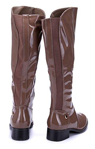 Schuhtempel24 Damen Schuhe Klassische Stiefel Stiefeletten Boots Blockabsatz 4 cm Khaki
