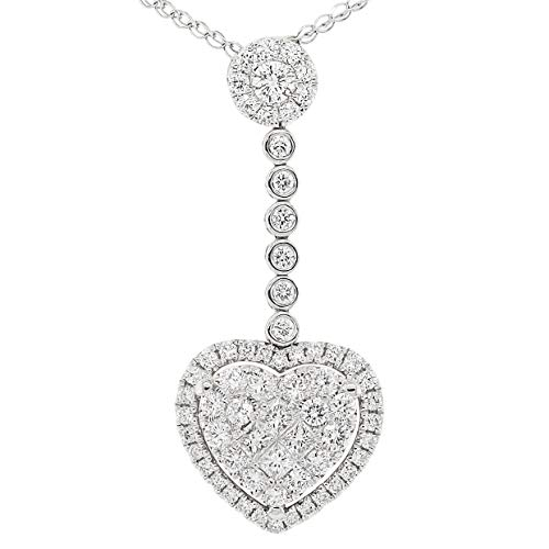 - Precious Stars Jewelry 18k White Gold 1ct TDW White Diamond Dangling Heart Slide Pendant Necklace