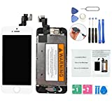 ORIWHIZ Top Grade LCD for iPhone SE Replacement Screen with Home Button, Front Camera,Earpieces Speaker Pre Assembled Full Set Digitizer Assembly LCD Display and Repair Tool Kits and Manual White