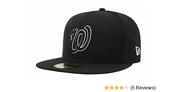 Amazon.com: New Era 59Fifty Mens Hat Washington Nationals Black/White Fitted Headwear Cap: Clothing
