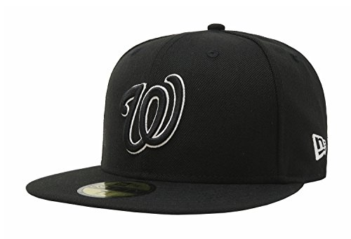 New Era 59Fifty Men's Hat Washington Nationals Black/White Fitted Headwear Cap (7 7/8)